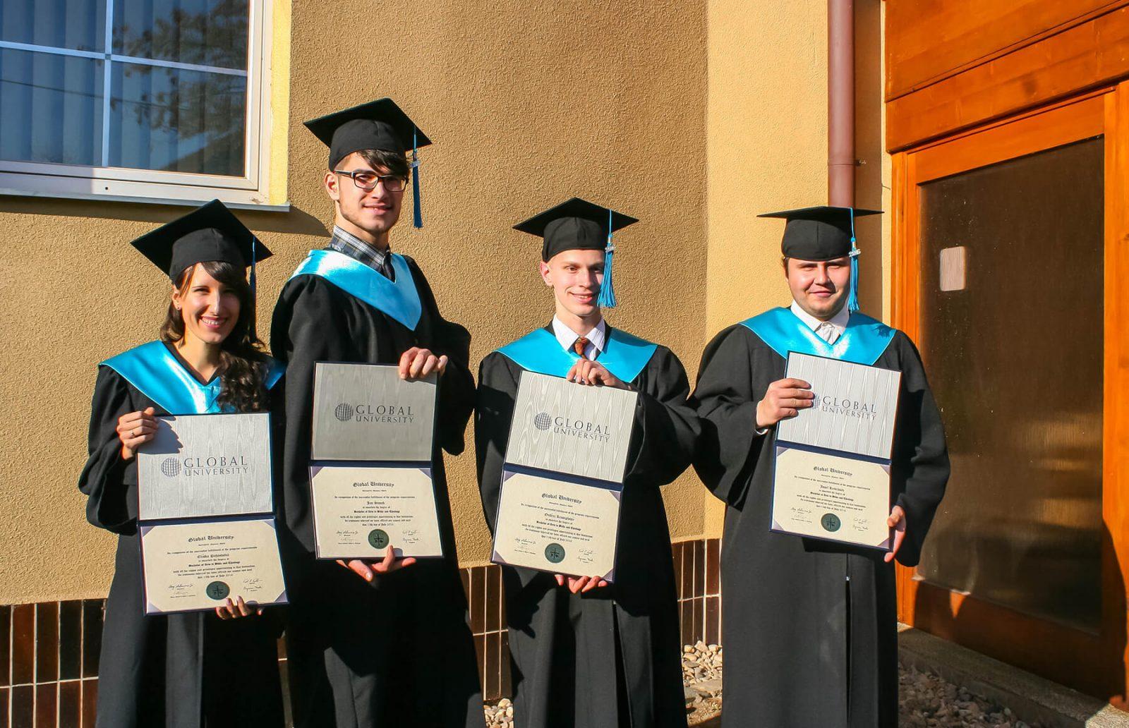 Czech Republic grads holding diplomas