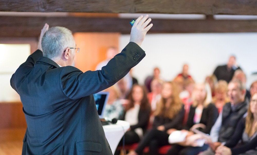 Preacher speaking in church to his congregation
