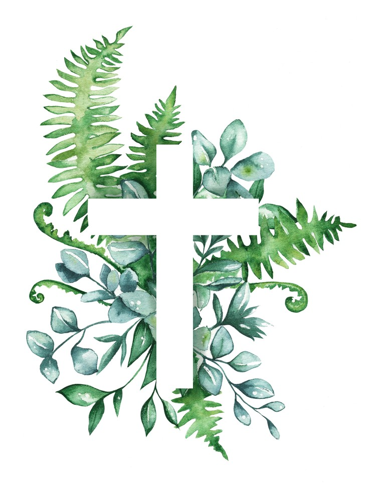 Cross with greenery in watercolors