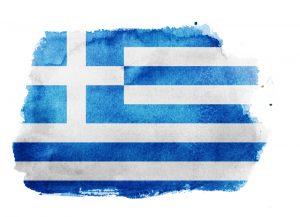 Greek flag watercolor stylized